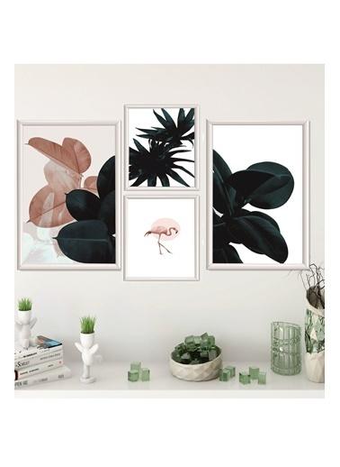 Lyn Home & Decor Koyu Renkli Yapraklar Çerçeveli Poster 4 Lü Tablo 2 Adet 23,5X33,5 2 Adet 17,5X23,5 Beyaz